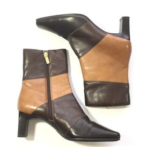 Shoes - Leather Color Block Square Toe Heeled Zip Boot